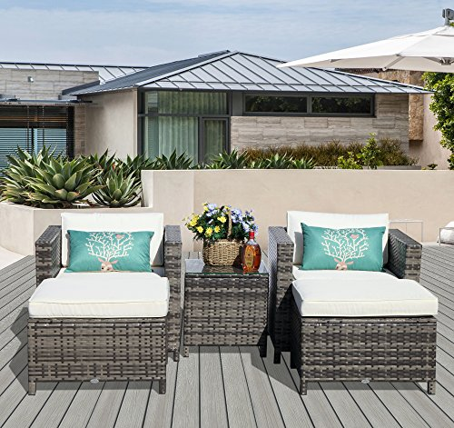 PATIOROMA Patio Furniture Sofa (5-Piece) All-Weather Grey Wicker Furniture with White Back Cushions & Non-slip Seat Cushions,Glass Coffee Table| Patio, Backyard, Pool,Indoor|Steel Frame