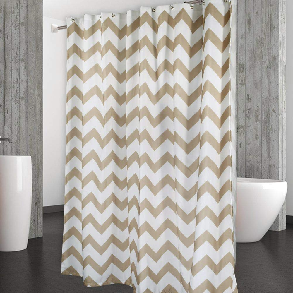 Amazon CAROMIO Shower Curtain Water Repellent Chevron Fabric Curtains For Bathroom Geometric 72 X Inch Tan And White Home Kitchen