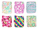 Naturally Nature Cloth Diaper 6pcs Pack Washable Adjustable with 2 Inserts Each- Girl Variety Pack - Rainbow, Pink Stripes, Pink Daisies, Pink Monkey, Multi-swirls,