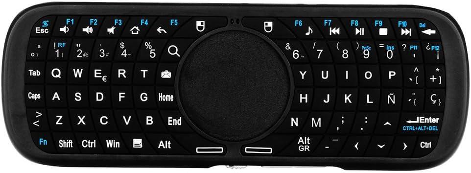 LESHP Mini Teclado Inalámbrico 2.4GHz (Disposición en Español) con Ratón Touchpad (Negro)