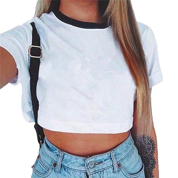 Baijiaye Camiseta para Mujer Patrón Impreso Crop Top Chica Joven Casual De Moda Media Cintura Top