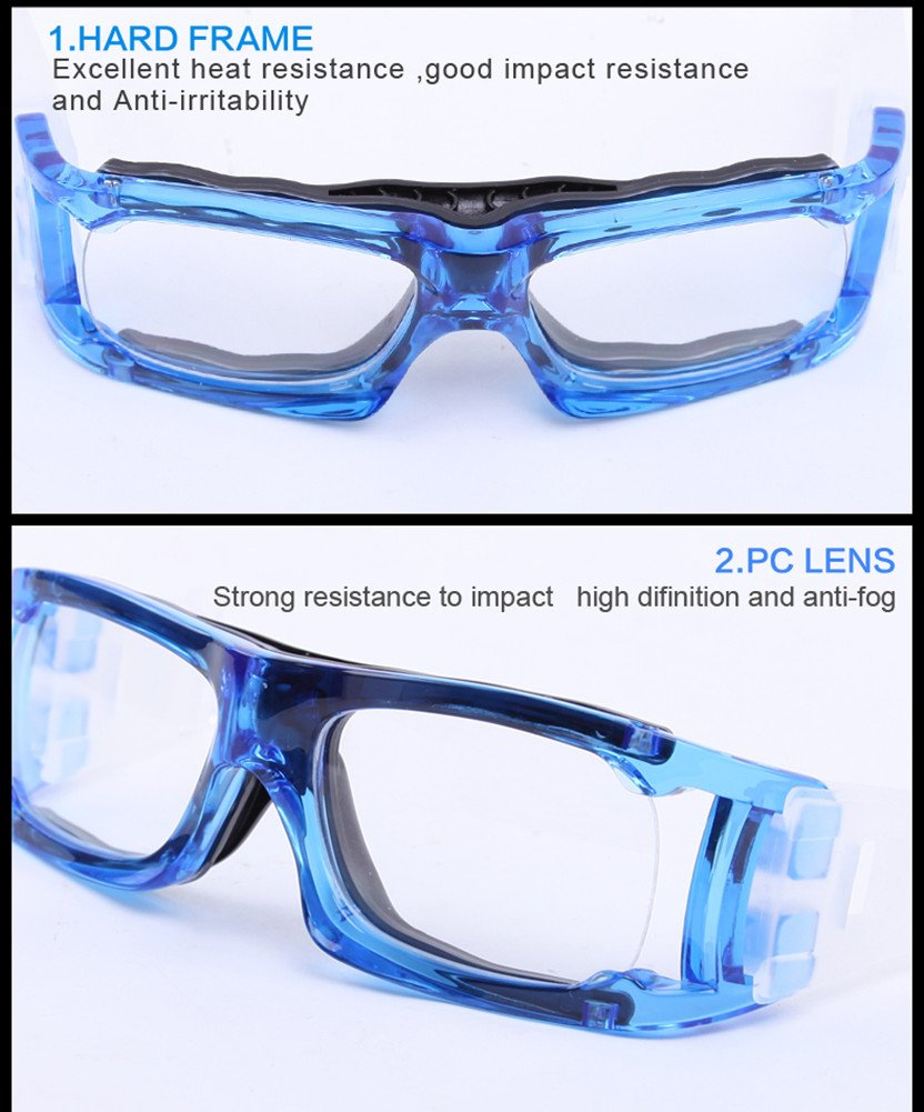 Kagogo Sports Goggles Protective Basketball Glasses Safety Goggles for Adults with Adjustable Strap for Basketball Football Volleyball Hockey Rugby (Transparent Blue006) by Kagogo (Image #4)