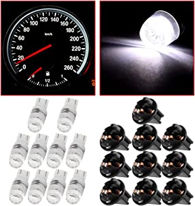Frontl T10 Dash Light Bulbs White 194 168 Halogen Light Bulbs Instrument Panel Gauge Cluster Indicator Lights with Sockets,10Pack
