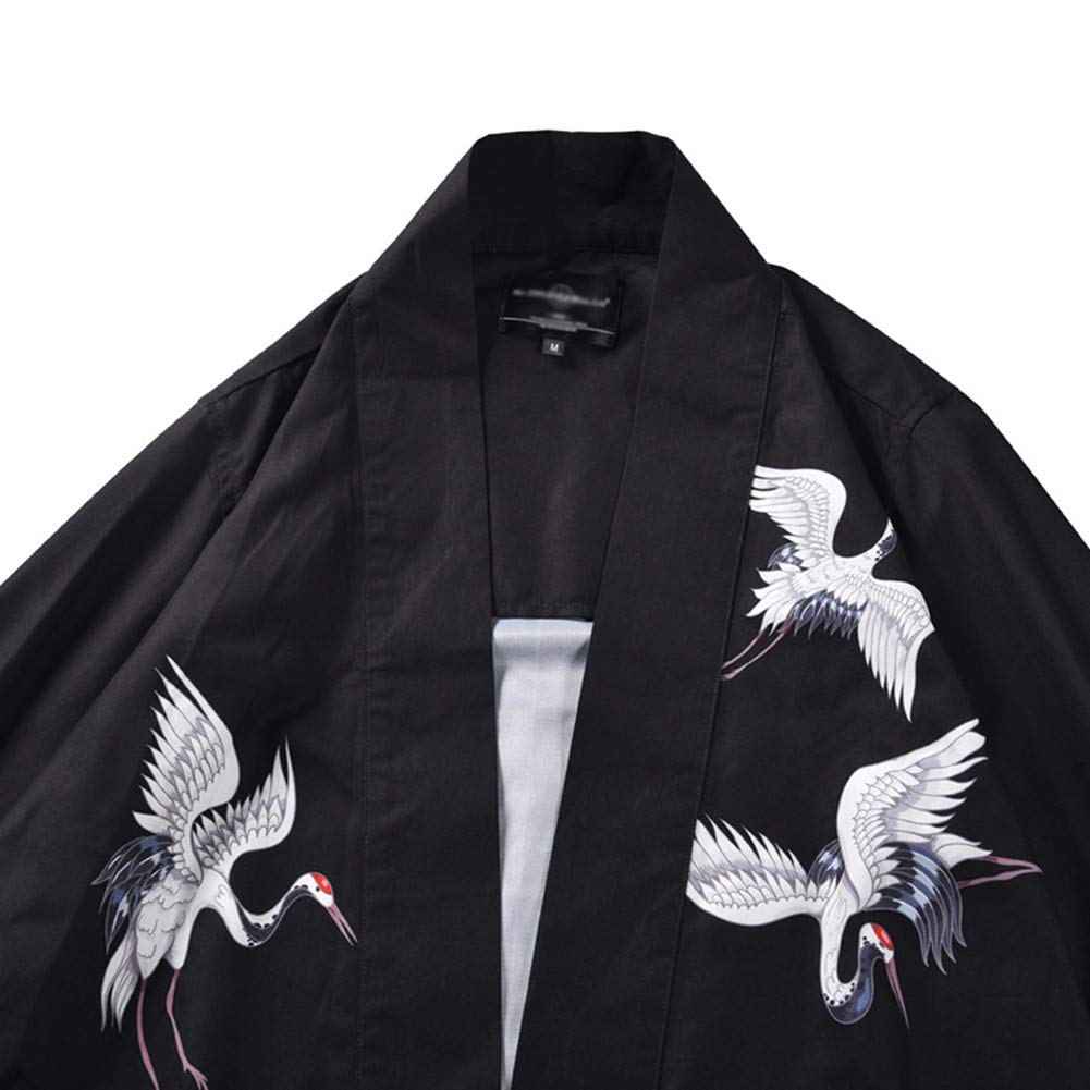 Mens Kimono Vintage Cloak Open Front Short Shirt 3//4 Sleeve Cardigan Jacket