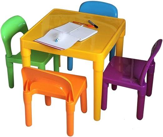 HH Home Hut - Juego de Mesa y Silla para niños (plástico, tamaño ...