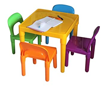 HOME HUT, Juego de Mesa y sillas Grandes de plástico para niños - Regalo para niños y niñas: Amazon.es: Juguetes y juegos