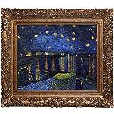La Pastiche VGG516-FR-256G20X24 La noche estrellada sobre el Ródano Ilustraciones metálicas embellecidas de Vincent Van Gogh con marco de oro Burgeon