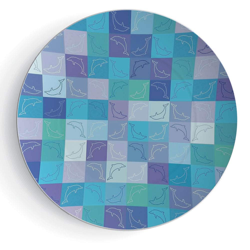 8'' Ceramic Decorative Plate, Art Decoration Sea Animals Decor 3D Print Ceramic Decorative Plate Playful Dolphin Figures in Mosaic of Colored Squares Underwater Life Theme