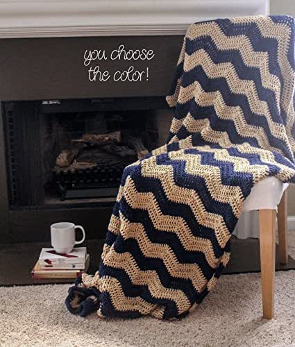 Chevron Afghan Throw Blanket Crochet - Dark Blue and Light Brown Striped Ripple Zig Zag - Made To Order