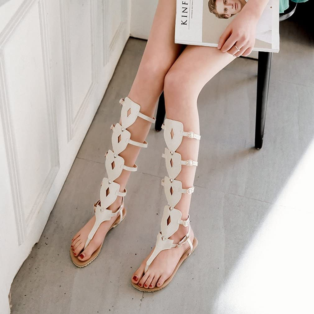 Womens Gladiator Strappy Flat Sandals Tall Mid-Calf Open Toe Anti-Slip Caged Casual Roman Flip Flops