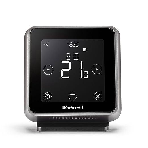 Honeywell Lyric T6R Wi-Fi Termostato y receptor caja con soporte de mesa y fuente de alimentación, 1 pieza, Negro, y6h910rw4013