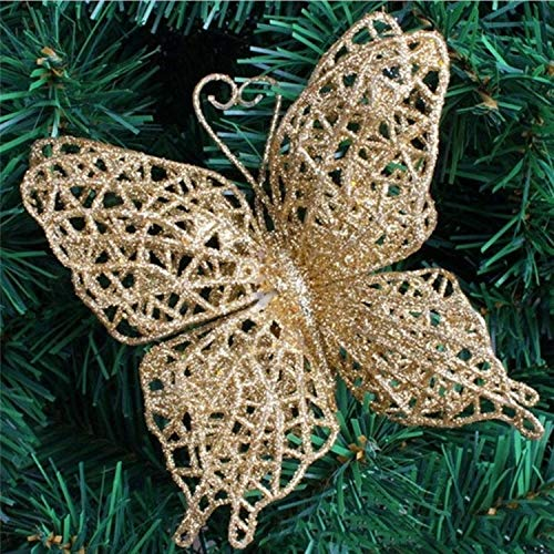 JEWH [5pcs 15CM Glitter Artificial Flowers - Christmas Tree Ornaments - Decorations Christmas - Decorations for Home (Butterfly-Gold)