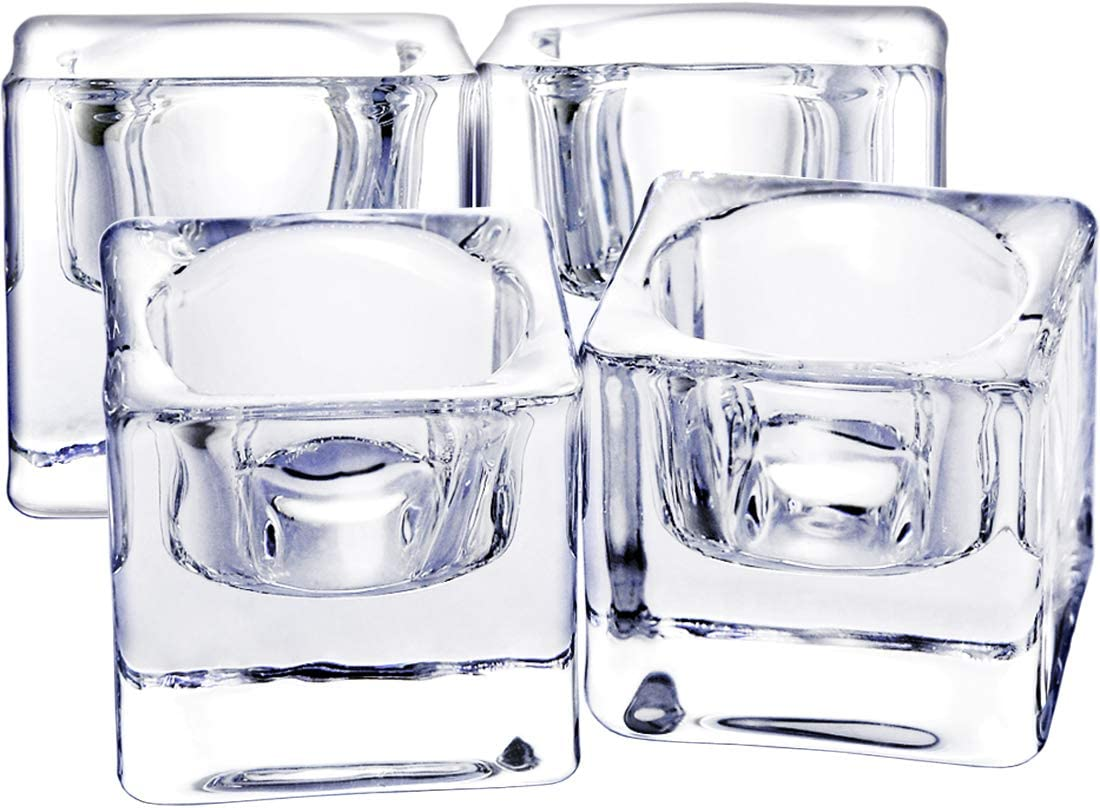 Clear Glass TeaLight Candle Holders Set of 4, Solid Square Clear Glass Table Centerpiece for Ceremony, Wedding, Party & Home Decor
