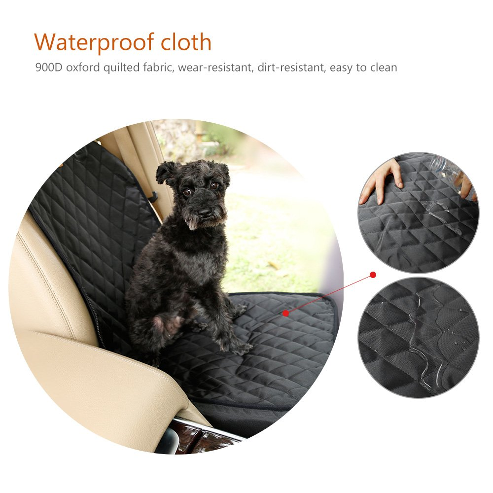 Single Seat for More Cars Black Scratch Proof Waterproof Nonslip Back Dog Car Seat Cover,Pet Covers Fold-able Travelling Puppy Carrier 2 in 1