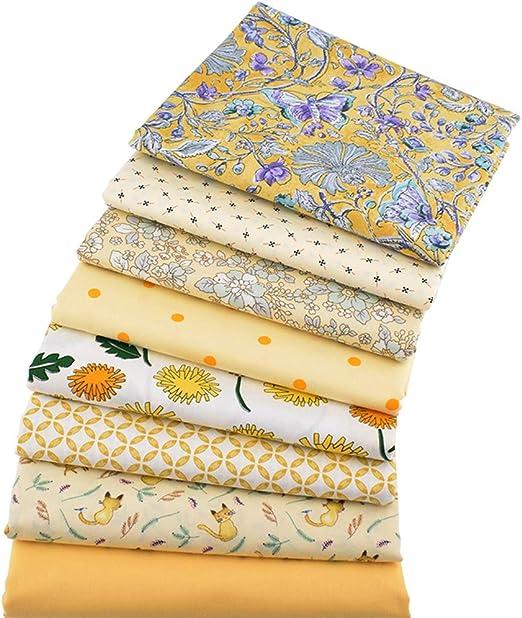 8 piezas de tela de algodón para manualidades de la serie amarilla, cuadrados, patchwork, floral, de algodón, 46 cm x 56 cm: Amazon.es: Amazon.es