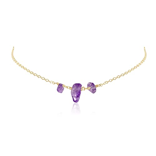 Short necklace Natural stone choker Women/'s Gift Stone Choker Golden choker Gold necklace Amethyst Necklace