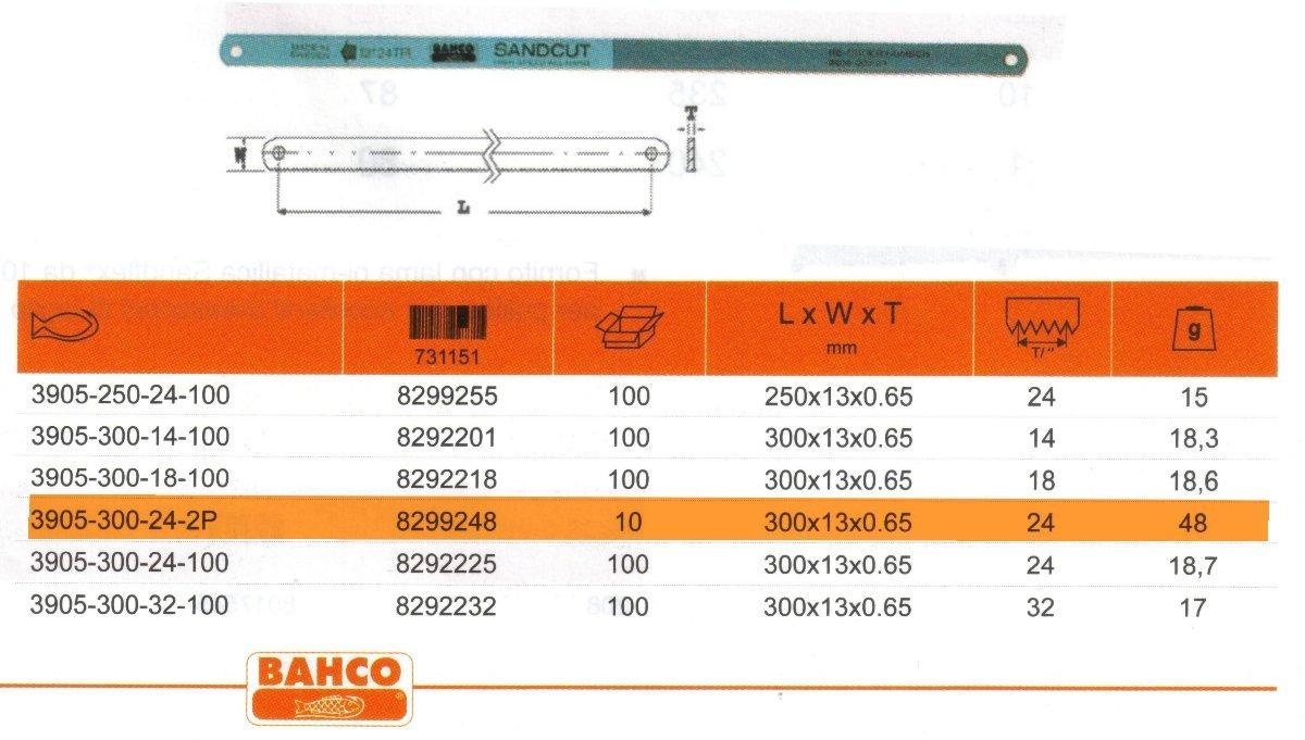 Bahco 3905-300-24-2P HSS-Handsä geblatt Sandcut 300mm 24Zpz 2 Stü ck