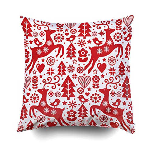 GROOTEY Decorative Cotton Square Pillow Case Covers with Zippered Closing for Home Sofa Decor Size 18X18 Inch Costom Pillowcse Throw Cover Cushion Halloween Christmas Folk red Pattern Scandinavian for $<!--$9.94-->