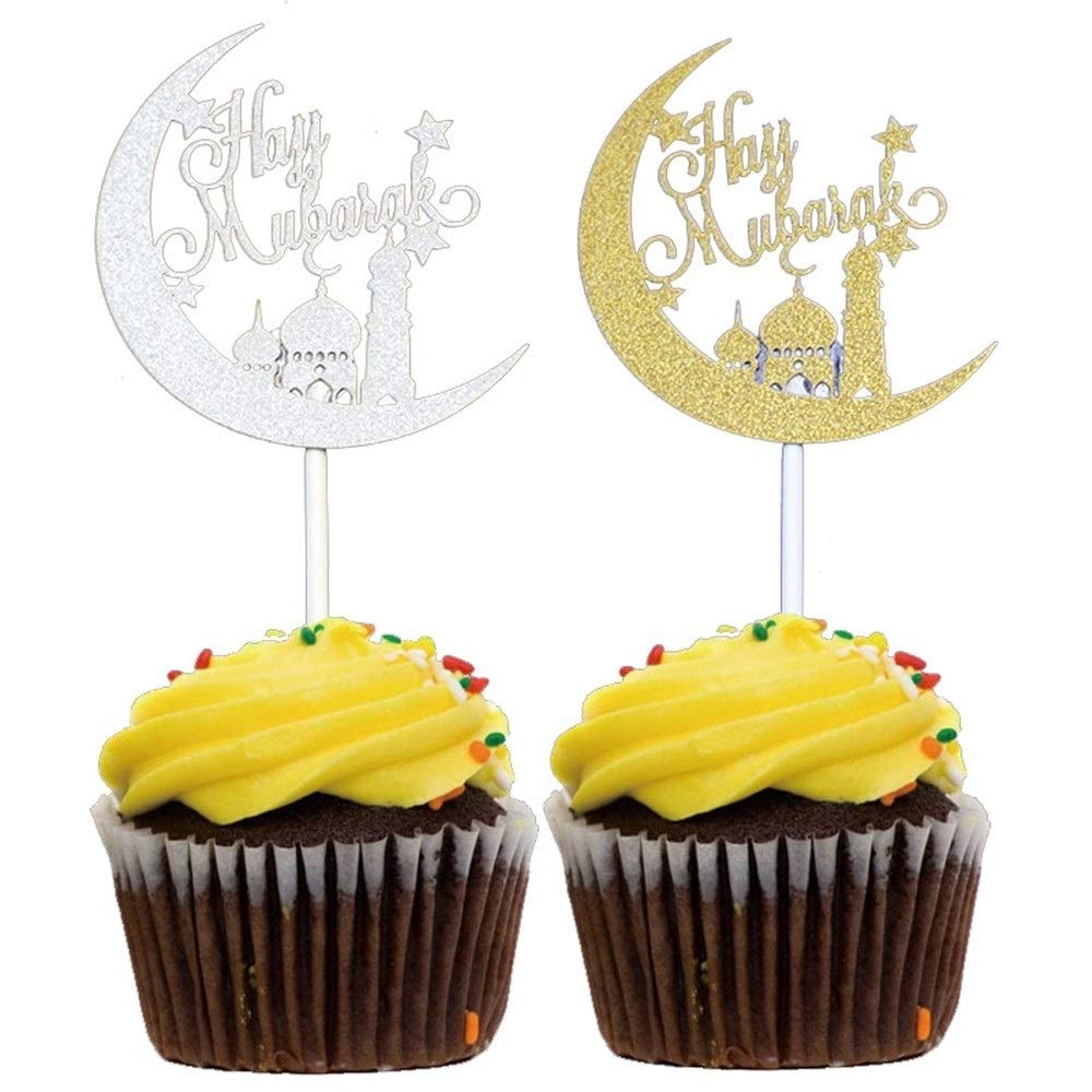 BeTyd 50Pcs Gold Sliver Laser Cut Hajj Mabrour Paper Cupcake Toppers,Happy Eid Candy Box,Islamic Eid Mubarak Party Decoration Supplies ( Color : 3 Style ) by BeTyd (Image #5)