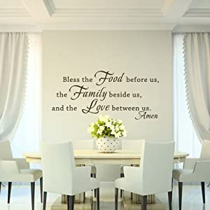 MairGwall Home Vinyl Bless The Food Before Us. Religous Quote Wall Decal for Living Room,Dining Room(Dark Brown, 27
