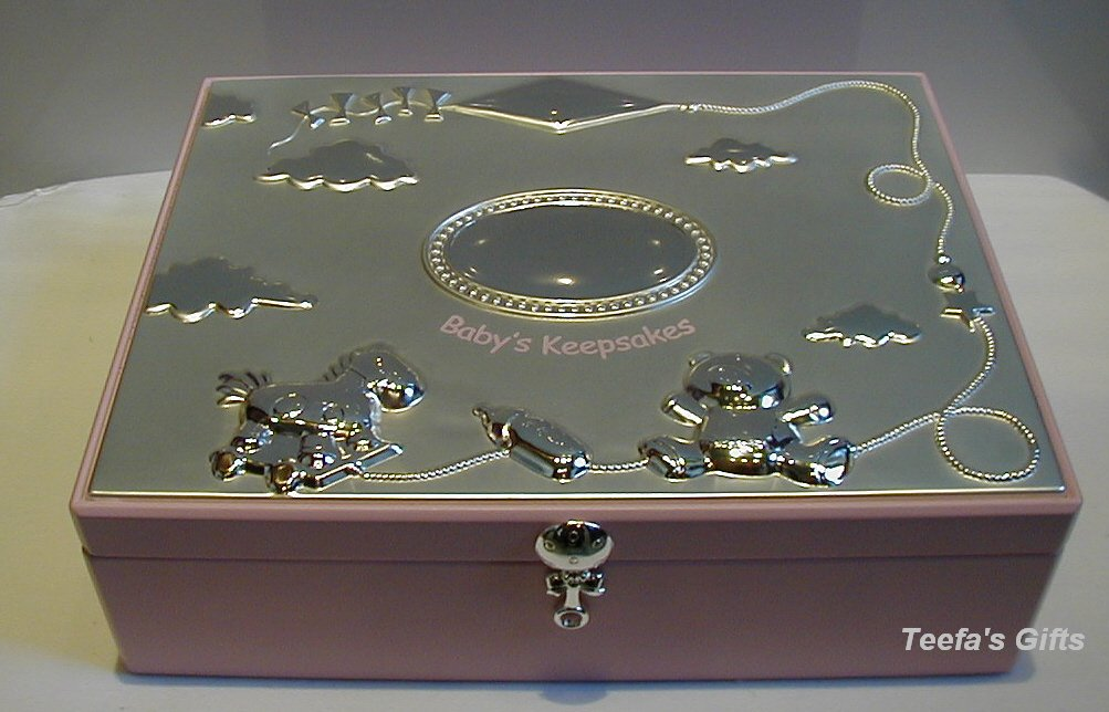 Silver Plated Baby Girls Large Keepsakes Box in Pink Shudehill Giftware 50024