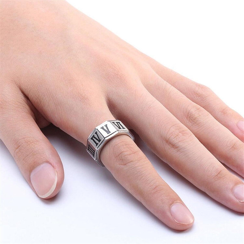 INRENG Men\'s 10MM Stainless Steel Roman Numerals Biker Ring Wedding ...