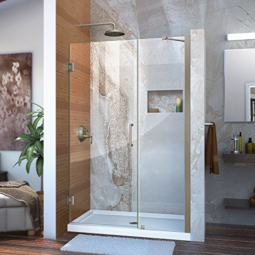 DreamLine Unidoor 44-45 in. W x 72 in. H Frameless Hinged Shower Door with Support Arm in Brushed Nickel, SHDR-20447210-04