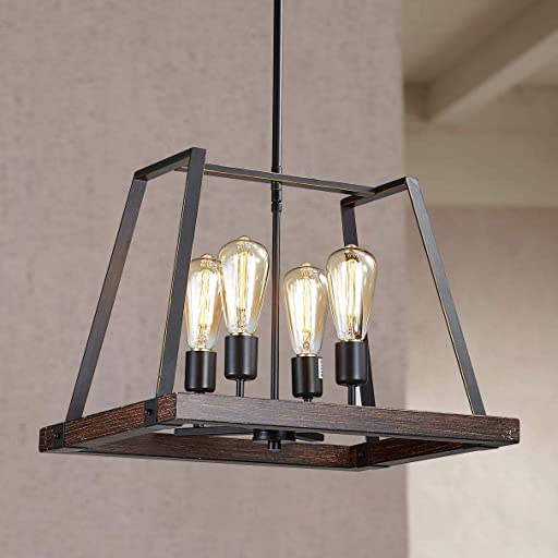 Bestier Painted Distressed Wood Color Matte Black Metal Finish Farmhouse Kitchen Island Pendant Chandelier Lighting LED Ceiling Light Fixture Dining Room Livingroom Height 13 inch Length 18 inch