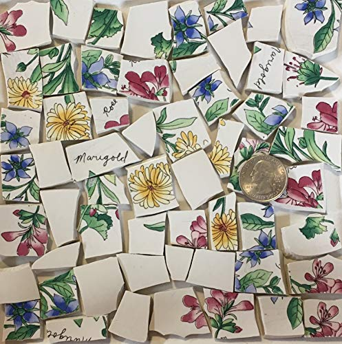 Mosaic Art & Crafts Supply ~ Blue Red & Yellow Flower Tiles (B334) ()