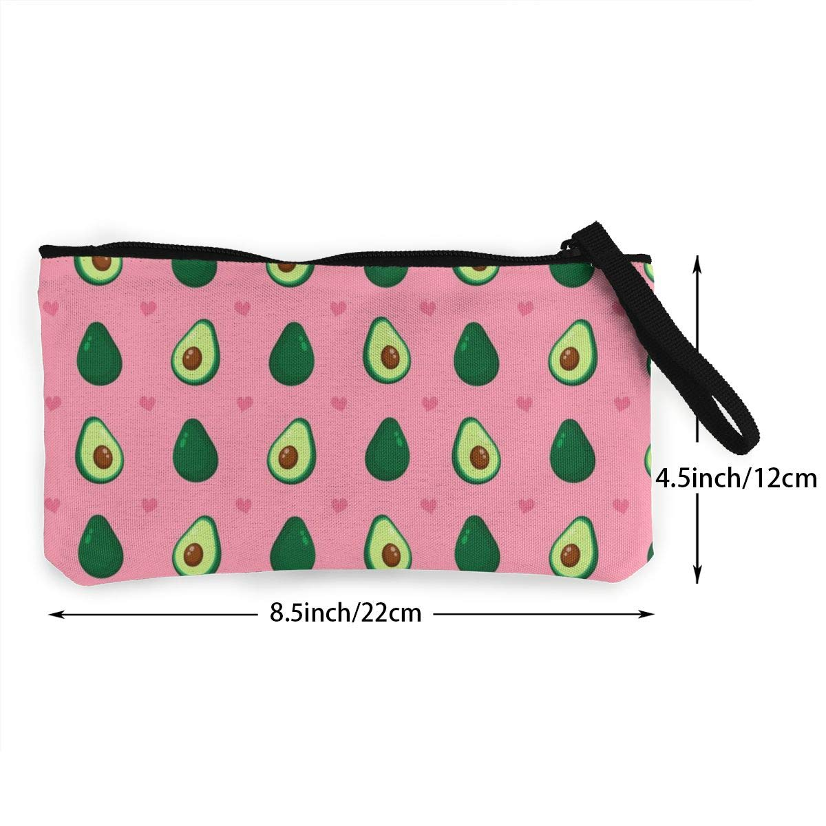 Canvas Coin Purse Cute Beauty Avocado And Hearts Zipper Wallet Bag Change Purse Pouch Key Purse Pouch
