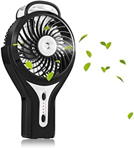 TheCoolCube Portable Handheld USB Mini Misting Fan with Personal Cooling Humidifier, Rechargeable Battery & Water Spray Fan for Music Festival Black