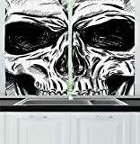 Ambesonne Halloween Kitchen Curtains, Gothic Dead Skull Face Close Up Sketch Evil Anatomy Skeleton Artsy Illustration, Window Drapes 2 Panel Set for Kitchen Cafe, 55 W X 39 L Inches, Black White