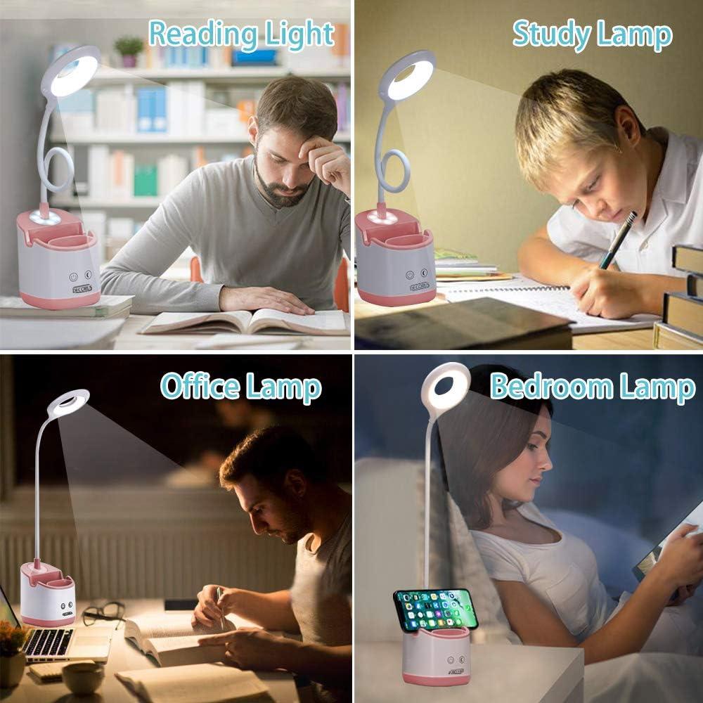 Handyhalter /& Stifthalter LED Schreibtischlampe Kinder mit Nachtlicht USB Akku Tischlampe Leselampe Buch Tageslichtlampe Dimmbare Nachttischlampe Touch Tischleuchte f/ür Zuhause B/üro Studie Grau