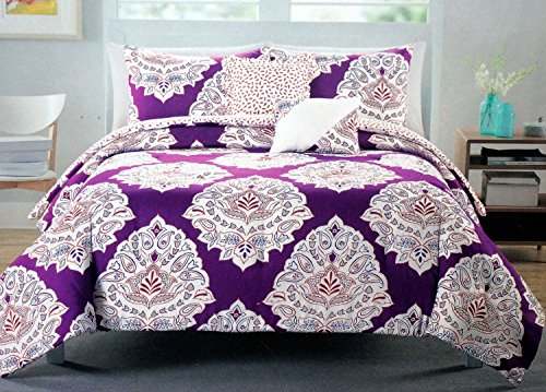 Cynthia Rowley 3 Pc QUEEN Duvet Cover Set: White, Purple and Orange Medallions on Purple