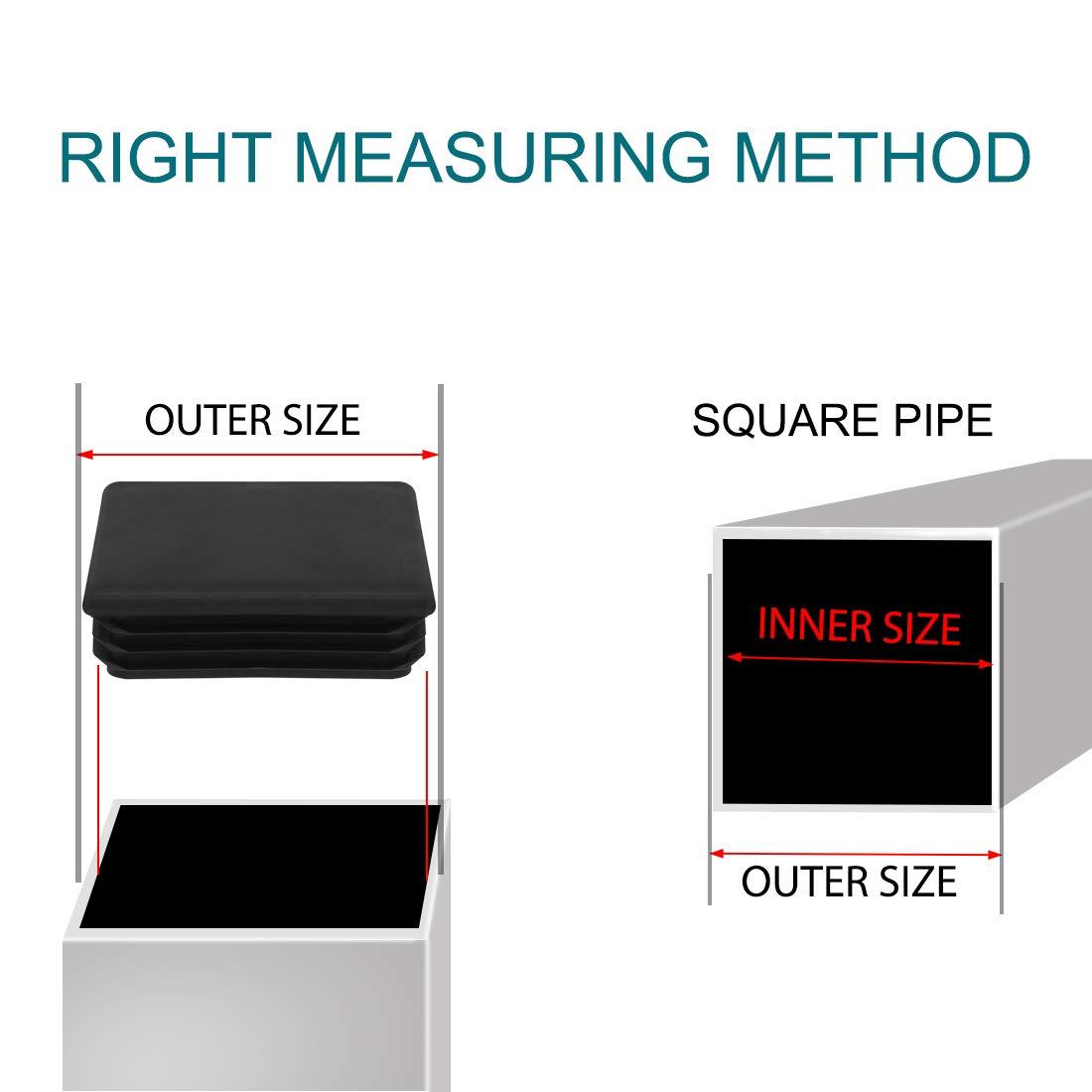 Sourcingmap Lot de 6 embouts carr/és en plastique c/ôtel/é 75 x 75 mm pour int/érieur de 5,1 cm /à 5,1 cm
