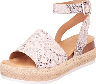 ceb30f407b02 Cambridge Select Women s Open Toe Ankle Strap Espadrille Flatform Sandal  (10 B(M)