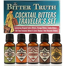 The Bitter Truth Cocktail Bitters Traveler`s Set 1 Set of 5 Different Flavors Celery, Orange, Creole, Old Time Aromatic, Jerry Thomas Own Decanter Size: 100ml (5 x 20ml)