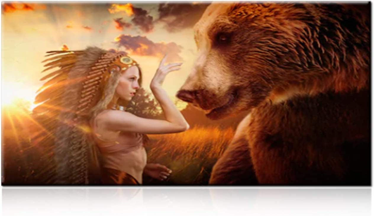 TUMOVO Native American Art Decorations Canvas Wall Art for Living Room,Brown Bear with an Indain Woman Feather Chiefs Headdress Golden Sunshine Background,1 Piece Canvas Wall Artwork 24 Wx48 H