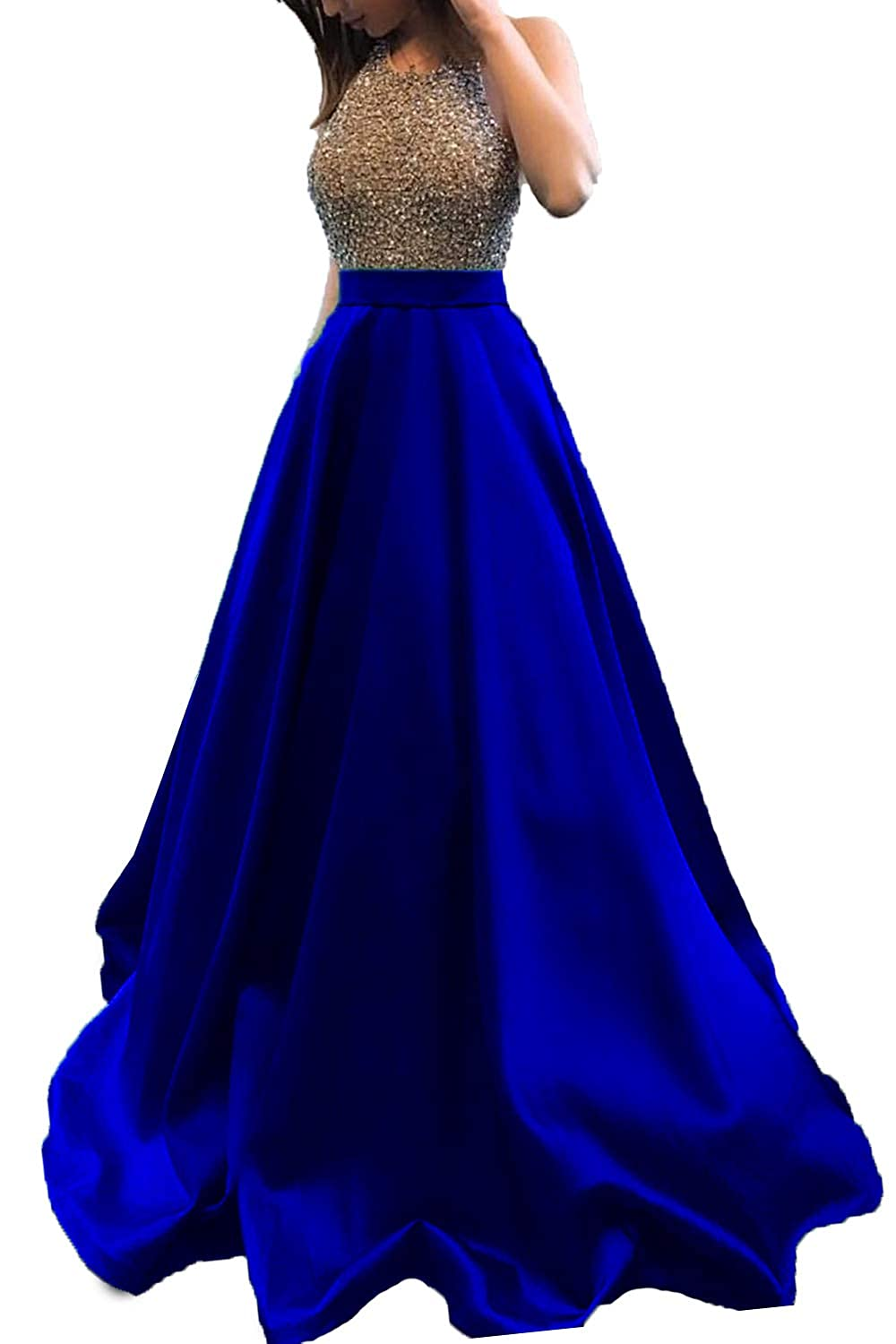 Royal bluee Promworld Women's Rhinestone Halter Neck A line Prom Dress Satin Formal Gown Evening Party Dress