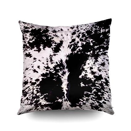 d51ad98f1ef Capsceoll Black White Cow Hide Print Decorative Throw Pillow Case  20X20Inch