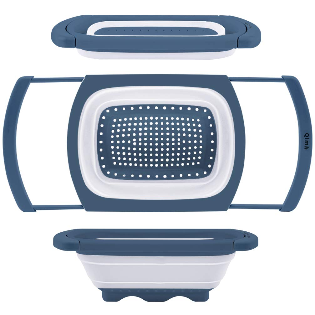Qimh Colander Collapsible | Over The Sink Silicone Kitchen Strainers and Colanders with Extendable Handles | Veggies, Fruit and Pasta Foldable Strainer for Kitchen, 6-Quart, BPA Free