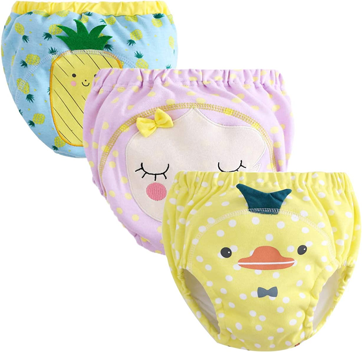 Abalacoco Training Underwear Newborn Baby Infant Cotton Toddler Pants Briefs Potty Reusable Diapers (18-24 Month, Pink/Blue/Yellow)