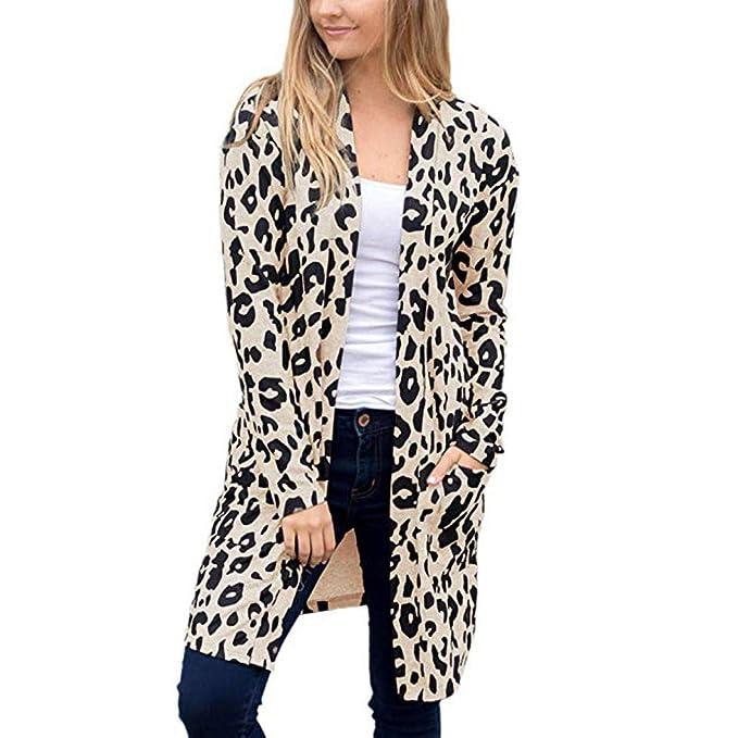BESSKY Frauen Langarm Leopardenmuster Tasche Mode Mantel Bluse T-Shirt  Strickjacke Top Leopard Tasche Langarm Damen Mantel  Amazon.de  Bekleidung ff8a6d8e93