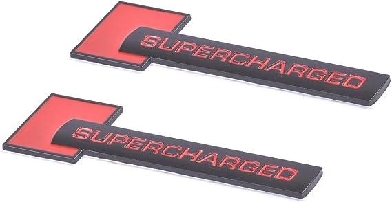 H/&H Merchants 2pcs Supercharged Alloy Badge Emblems,3D Decal Replacement for Audi TT A3 A4 A5 A6 A7 A8 Q3 Q5 Q7 S4 S6 S5 RS5 Chrome Black