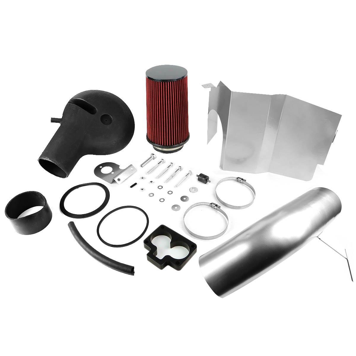 For 97-99 Dodge Dakota Durango V8 DNA Motoring AIP-2-HS-DAKOTA97V8-SLSL Cold Air Intake System w//Heat Shield
