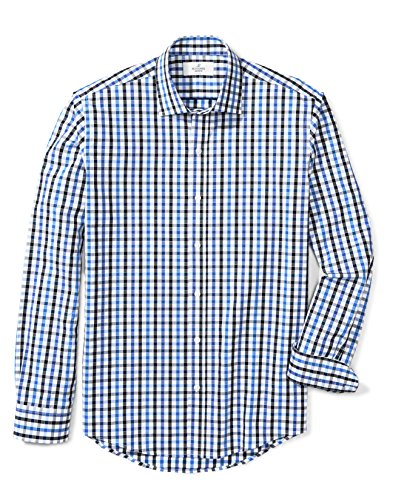 Buttoned Down Mens Slim Fit Spread Collar Pattern  Blue Black Check  L 32 33