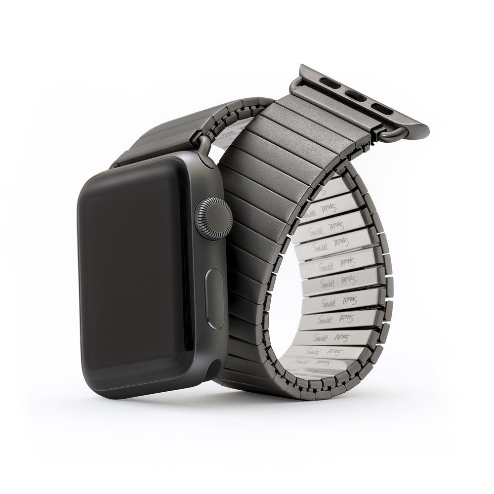 Twist-O-Flex Metal Expansion 42mm / 44mm Stretch Band in Black Stainless Steel for for Smart Watch Series 1, 2, 3, and 4 in Medium Lengths by Speidel by Speidel