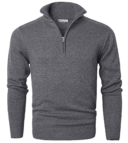 MOCOTONO Mens Long Sleeve Turtle Neck Zip Pullover Sweater Dark Gray Small