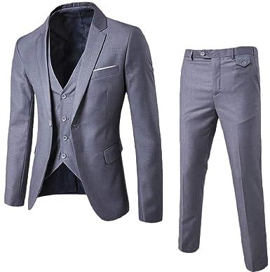 cfcceba9d89 chenshijiu Men s Suit Slim Fit 3 Piece Suit Blazer Tuxedo Business Wedding  Party Jackets Vest Trousers Light