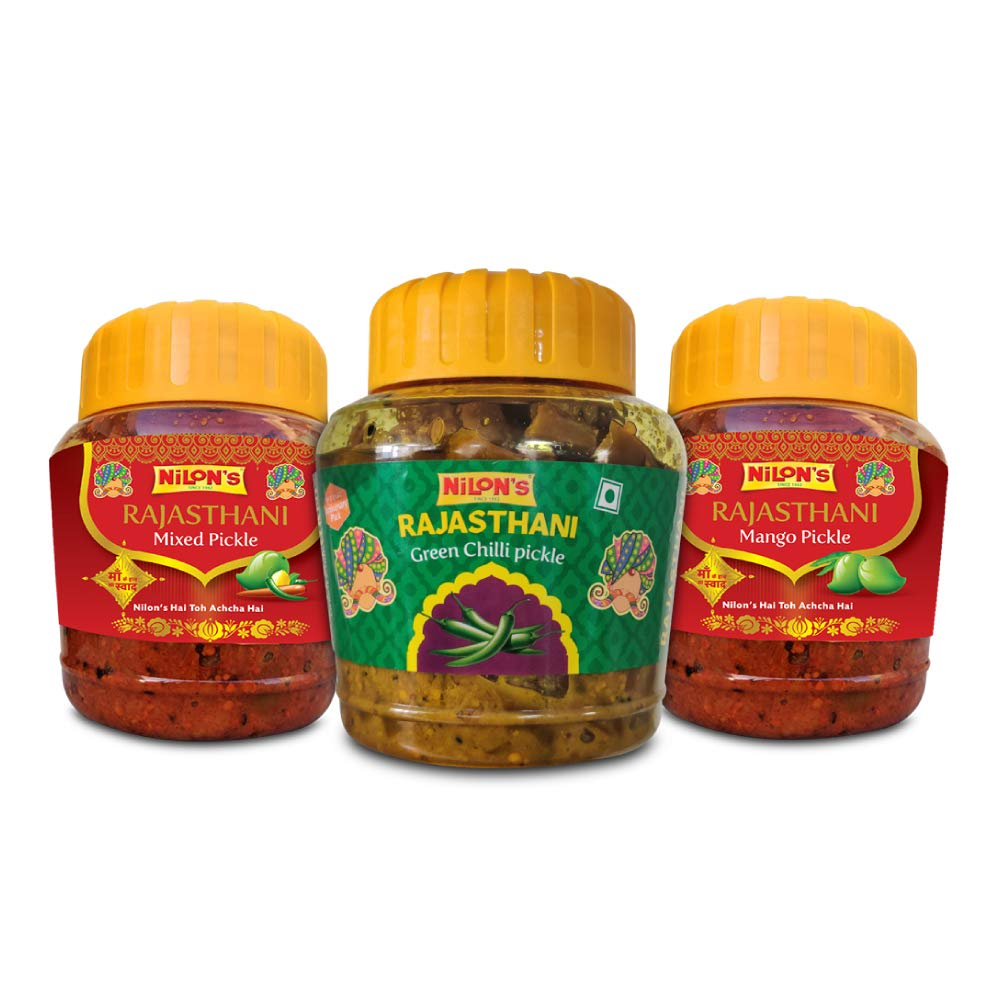 NILON'S Traditional Rajasthani Achaar Pickle Combo, Mango Pickle, Mix Pickle, Green Chilli Pickle (500 g Each)